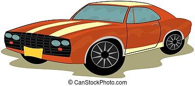 Sports car - Clip art of retro sports car