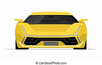 Sports car in flat style. Front view of a supercar isolated on white background.