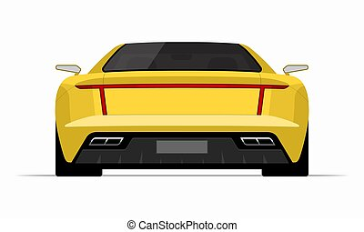 Sports car in flat style. Rear view of a supercar isolated on white background.
