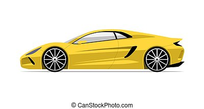 Sports car in flat style. Side view of the supercar isolated...