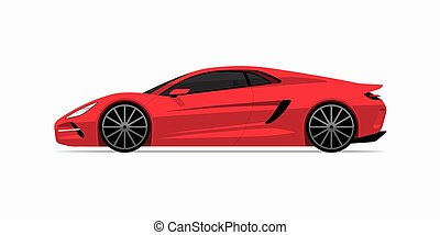 Sports car in flat style. Side view of the supercar isolated on white background