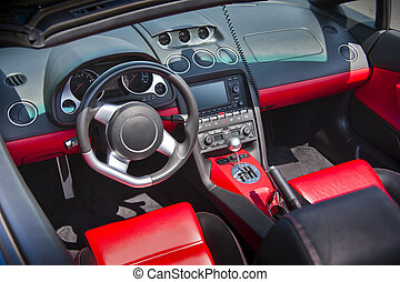 Sports car interior  -  Sports car interior in red leather