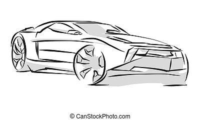 Sports Car Line Art Sketch