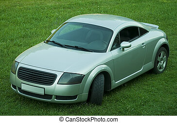 sports car on green meadow