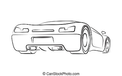 Sports car rear. Line art vector