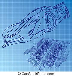 Sports Car Sketch Blueprint
