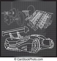 Sports Car Sketch on Backboard