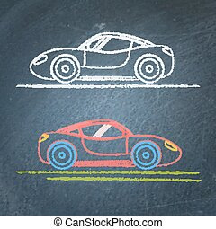Sports car sketch on chalkboard - Vector sketches of sports...