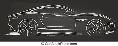 Sports Car Sketch Vector On Blackboard