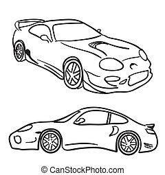 Clip art sports car drawings isolated over white in vector format. Paint them any color you need.