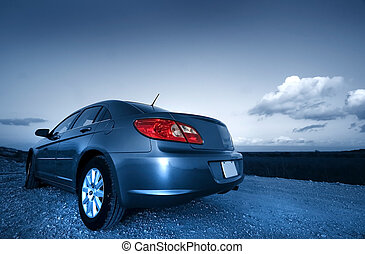 Sports Car - Sports car on a desert street in blue color ...
