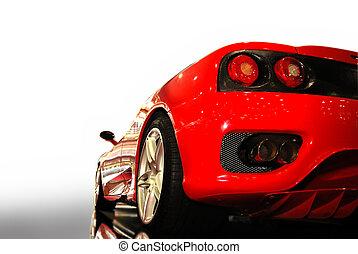 Sports Car -  shot  of a  red sports car (ferrari)