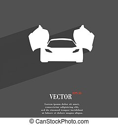 sports car symbol Flat modern web design with long shadow and space for your text. Vector illustration
