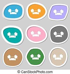 sports car symbols. Multicolored paper stickers. Vector