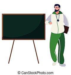 sports, caractère, tableau, prof
