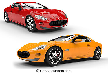 Sports Cars Red And Yellow