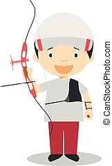 Sports cartoon vector illustrations: Archery