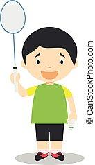 Sports cartoon vector illustrations: Badminton