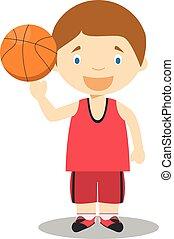 Sports cartoon vector illustrations: Basketball