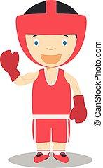 Sports cartoon vector illustrations: Boxing