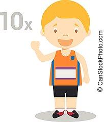 Sports cartoon vector illustrations: Decathlon
