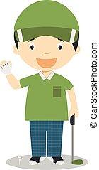 Sports cartoon vector illustrations: Golf