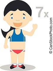 Sports cartoon vector illustrations: Heptathlon