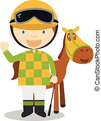 Sports cartoon vector illustrations: Horse Racing