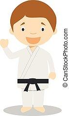 Sports cartoon vector illustrations: Judo