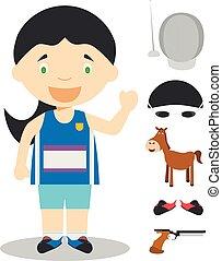 Sports cartoon vector illustrations: Modern Pentathlon...