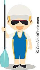 Sports cartoon vector illustrations: Rowing