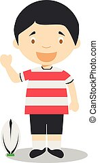 Sports cartoon vector illustrations: Rugby