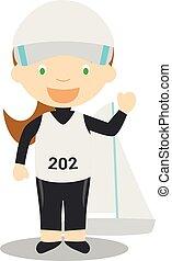 Sports cartoon vector illustrations: Sailing (female)