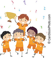 Sports Champion - Illustration of Kids Showing Their Trophy