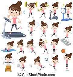 &, sports, chignon cheveux, maman, exercice