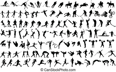 Sports - Set of vector silhouettes of people in sports
