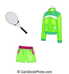 Sports clothes and a racket for playing tennis. Vector illustration. Isolated on white background.