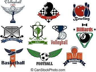 Sports club or team emblems and icons