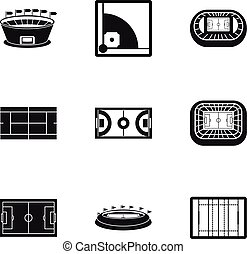 Sports complex icons set, simple style