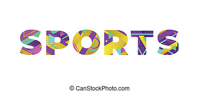 Sports Concept Retro Colorful Word Art Illustration
