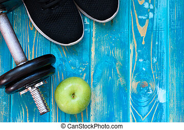 Sports Crafts, dumbbells, drinking water