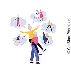 sports, danse, dessin animé, personne agee, vieux, couple, amusement, -, style de vie, jouer, confection, art