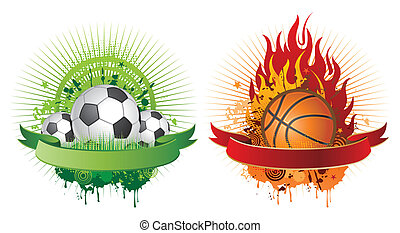 sports design elements - soccer and basketball design ...