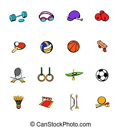 sports, dessin animé, ensemble, équipement, icônes