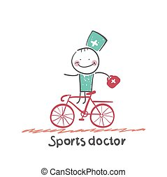 Sports doctor rides a bicycle