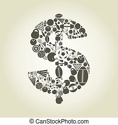 Sports dollar - Dollar made of stock sports. A vector...