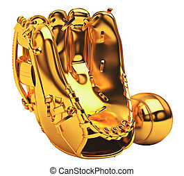 sports:, dourado, luva beisebol, e, bola, isolado