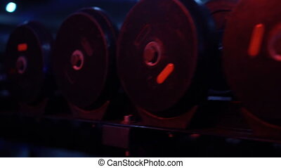 Sports dumbbells in sport club - Sports dumbbells in modern...