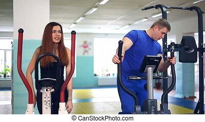 sports, ellipsoid, girl, sciatique, douleur, dos, impliqué, simulateur, homme, entraîneur