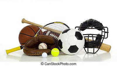 sport\'s, engranaje, blanco, plano de fondo